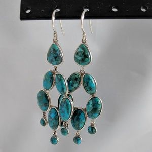 Compressed turquoise and Sterling silver drops